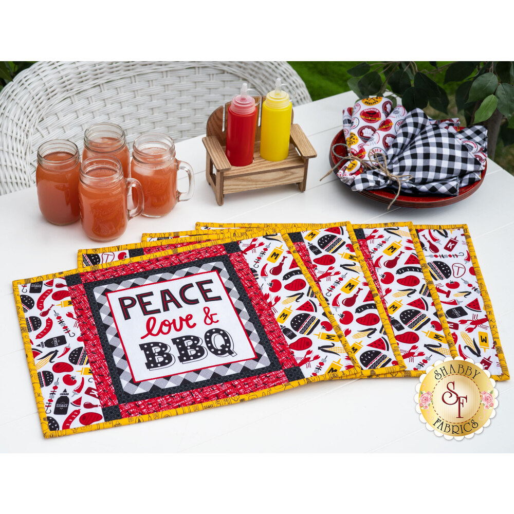Placemat Kit - Peace, Love & BBQ - Makes 4
