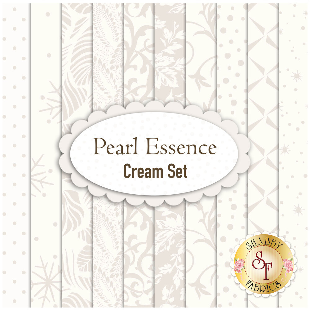 A digital collage of the fabrics included in the Pearl Essence Cream FQ Set | Shabby Fabrics