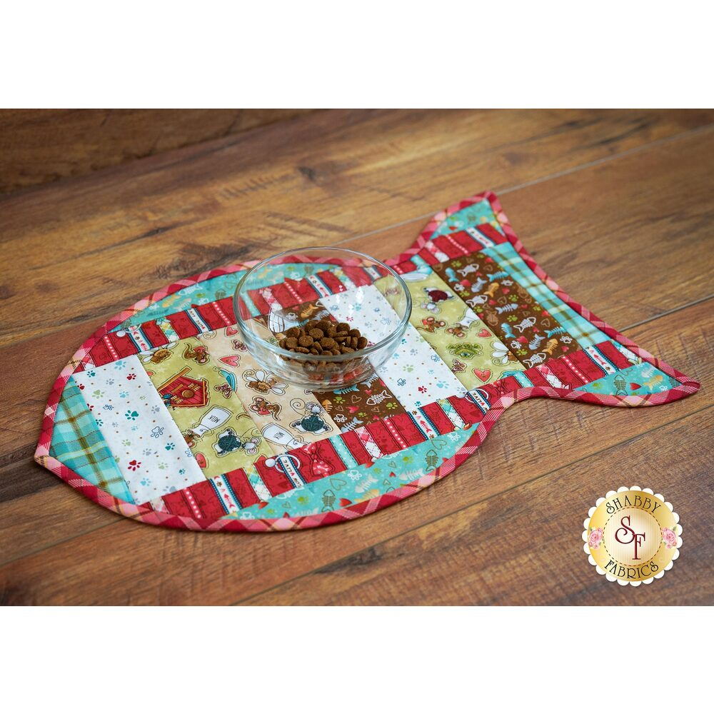 Quilt As You Go Pet Placemat - Live Love Meow | Shabby Fabrics