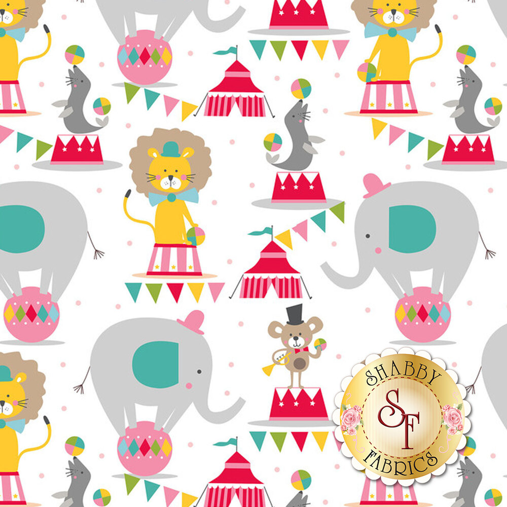 A kid's fabric featuring balancing elephants, seals, and lions at the circus   Shabby Fabrics