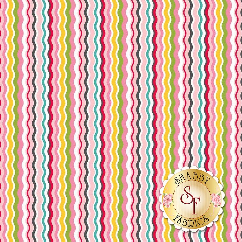 Multi-colored thin wavy stripes   Shabby Fabrics