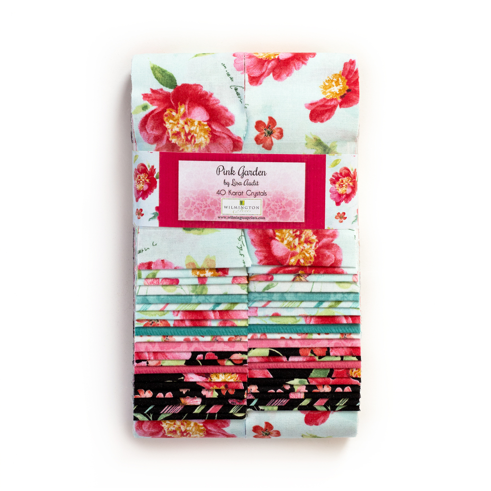 A collage of fabrics featured in the Pink Garden Strip Pack   Shabby Fabrics