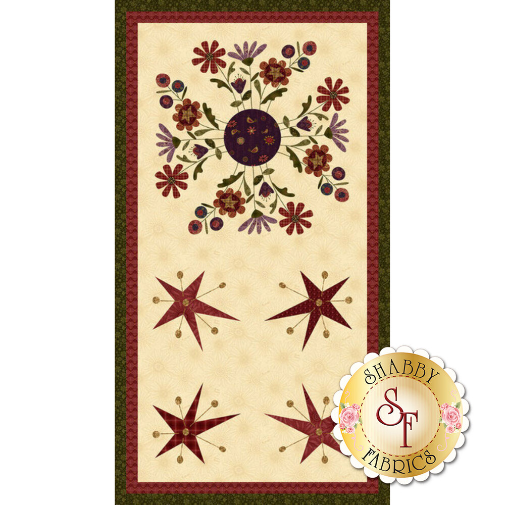 Flowers and stars on cream panel fabric | Shabby Fabrics