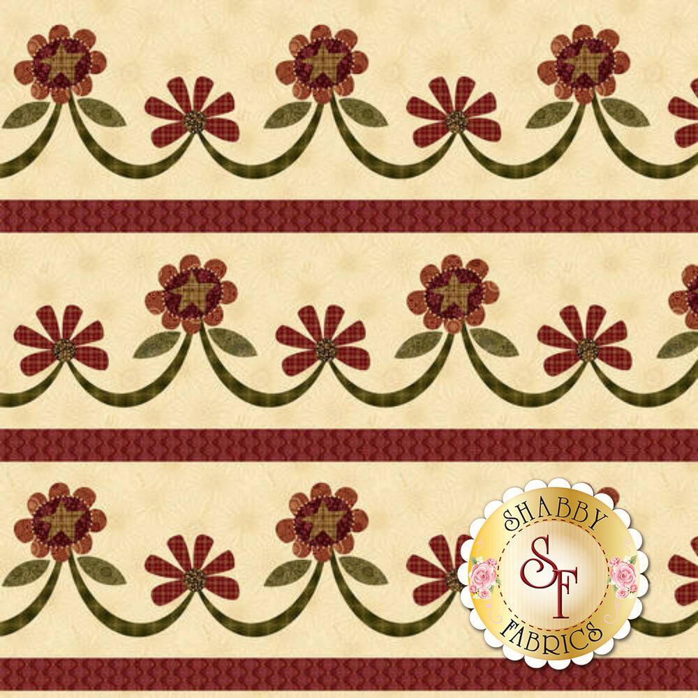 Flowers in stripe on cream | Shabby Fabrics