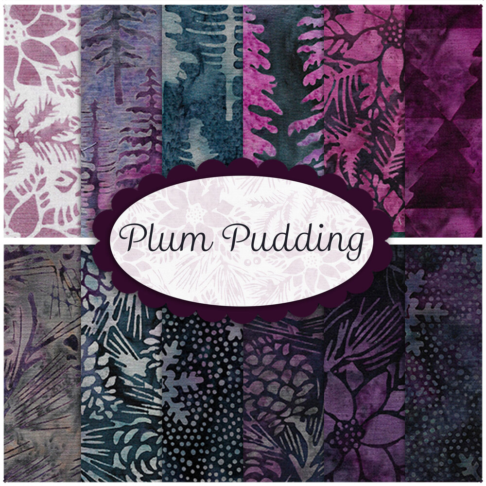 A collage of fabrics from the Plum Pudding collection