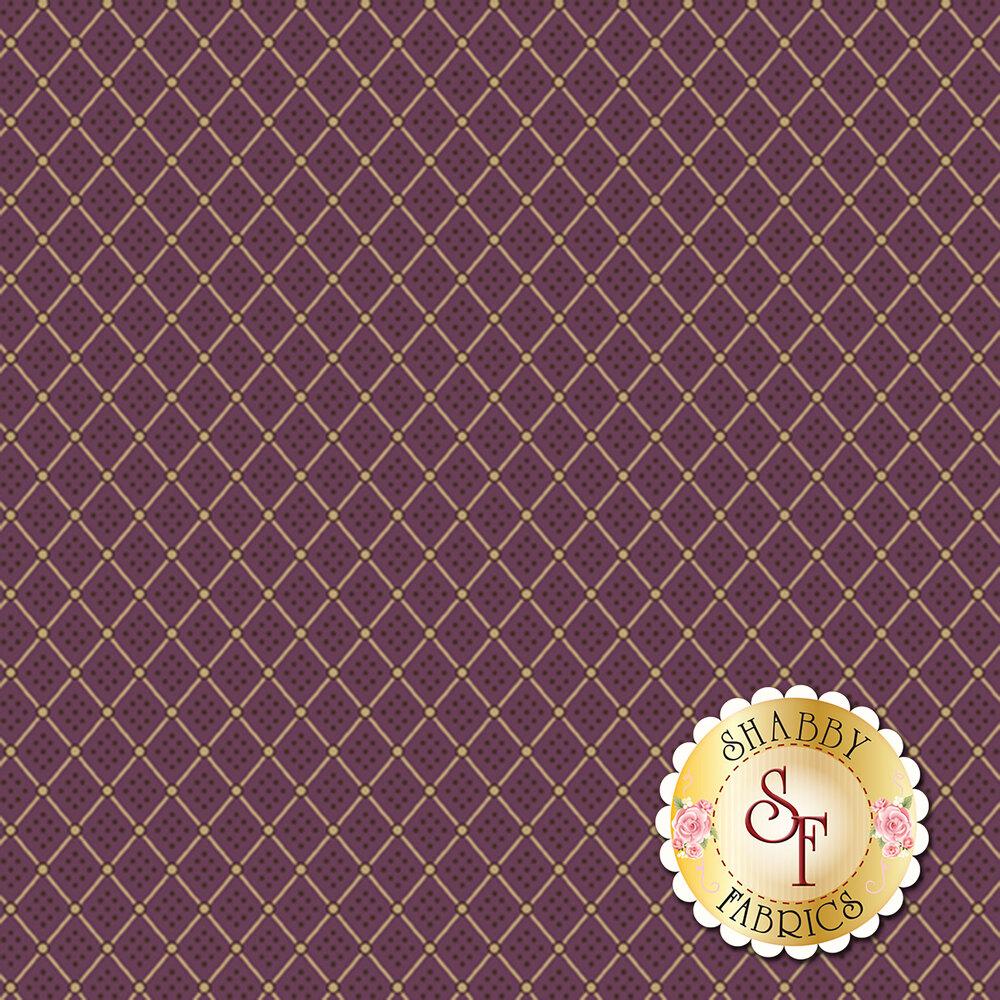 Cream diamond print on a plum background | Shabby Fabrics