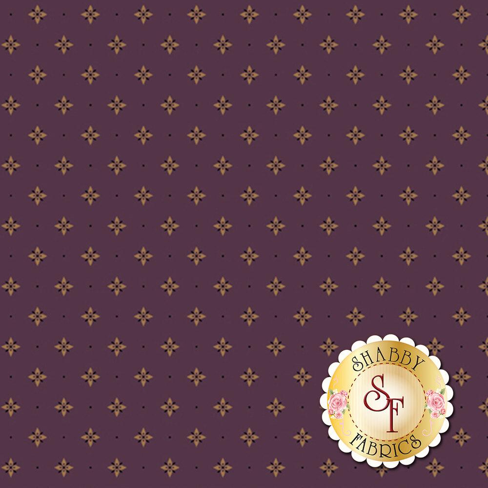 Tan star print on a plum background   Shabby Fabrics