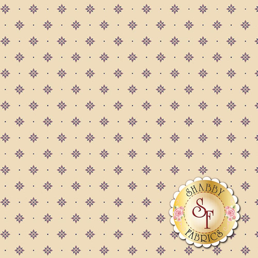 Purple star print on a cream background | Shabby Fabrics
