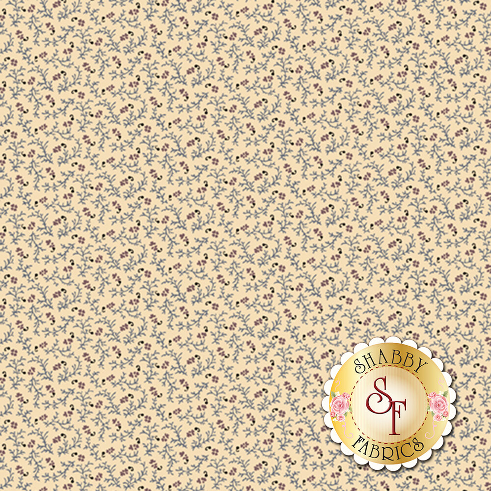 Flowers and vines on a cream background | Shabby Fabrics