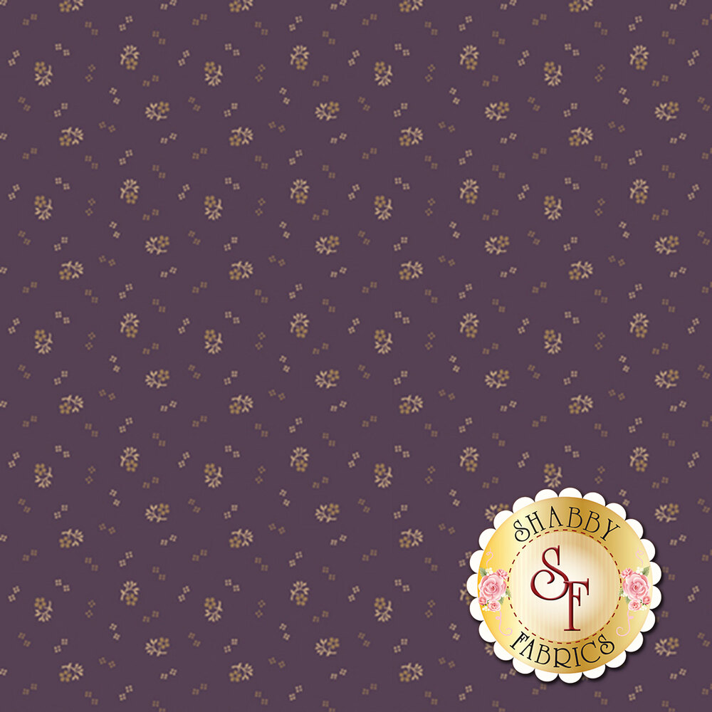 Small flowers clusters on a purple background | Shabby Fabrics
