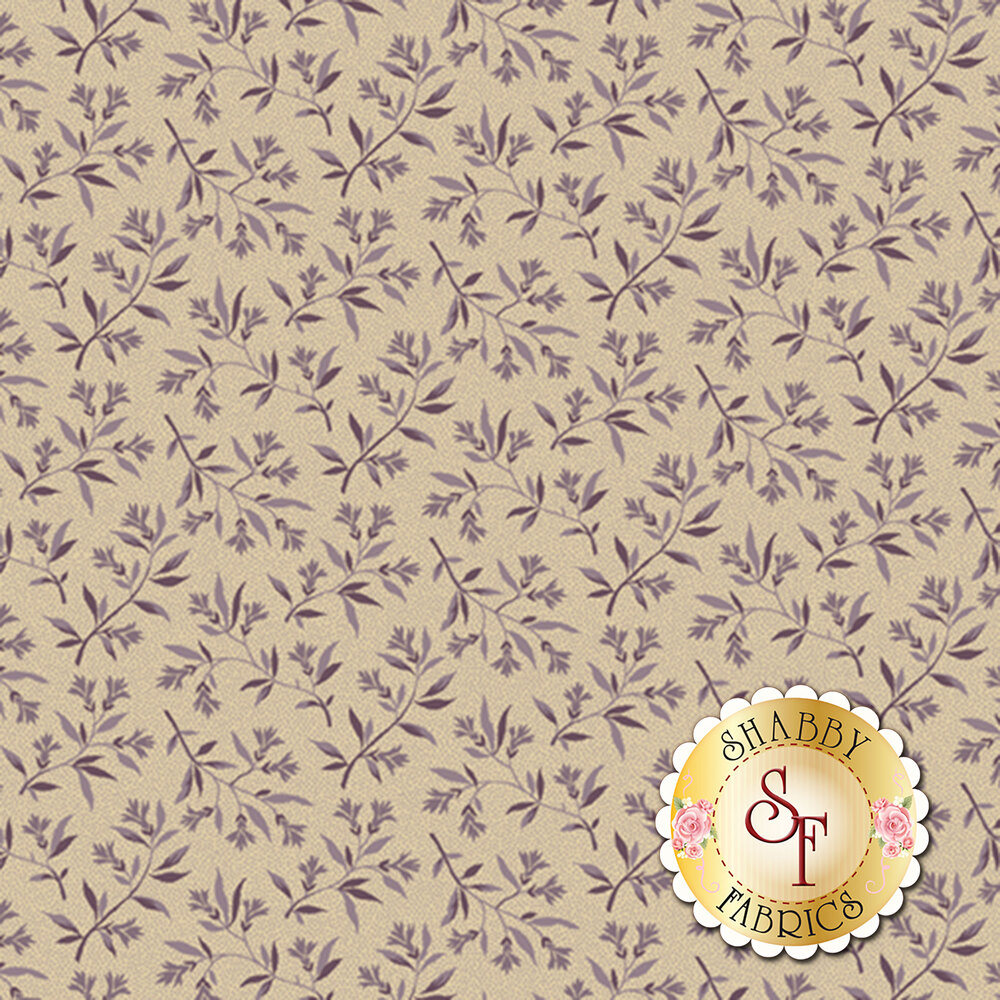 Purple floral and leaves on a cream background   Shabby Fabrics