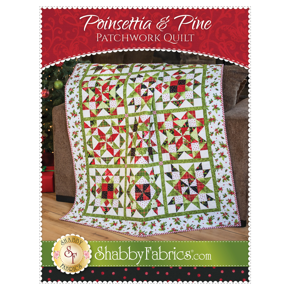 The front of the Poinsettia & Pine Patchwork Quilt Pattern | Shabby Fabrics