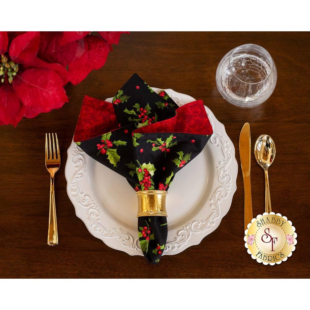 Cloth Napkins Kit - Poinsettia & Pine - Makes 4