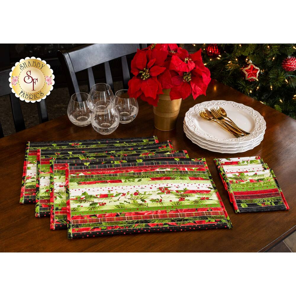 Jelly Roll Placemats & Coasters Kit - Poinsettia & Pine - Makes 4 of each