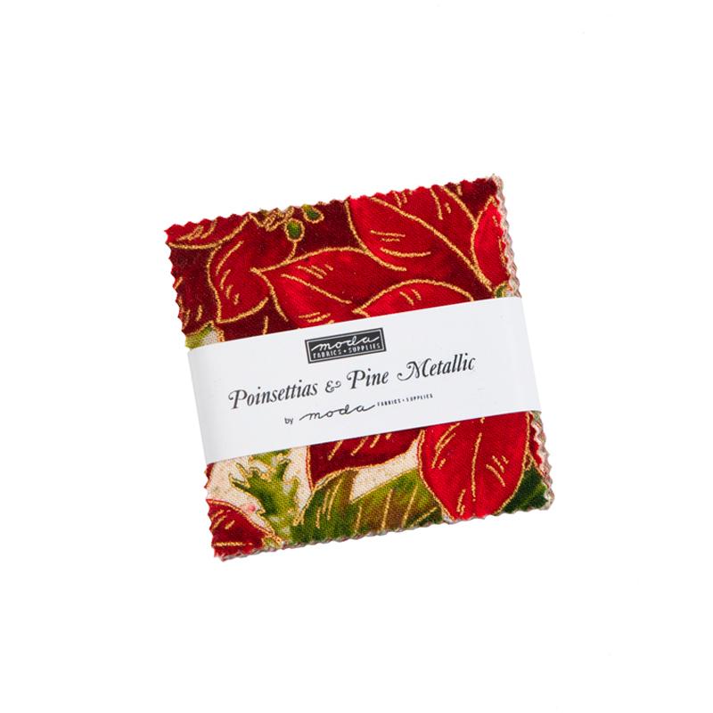 Poinsettias & Pine Metallic Charm Pack displayed | Shabby Fabrics