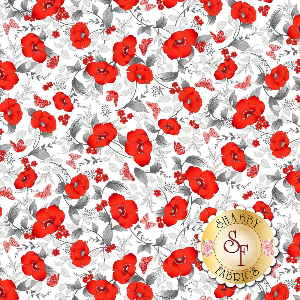 Red poppies with silver leaves all over white | Shabby Fabrics