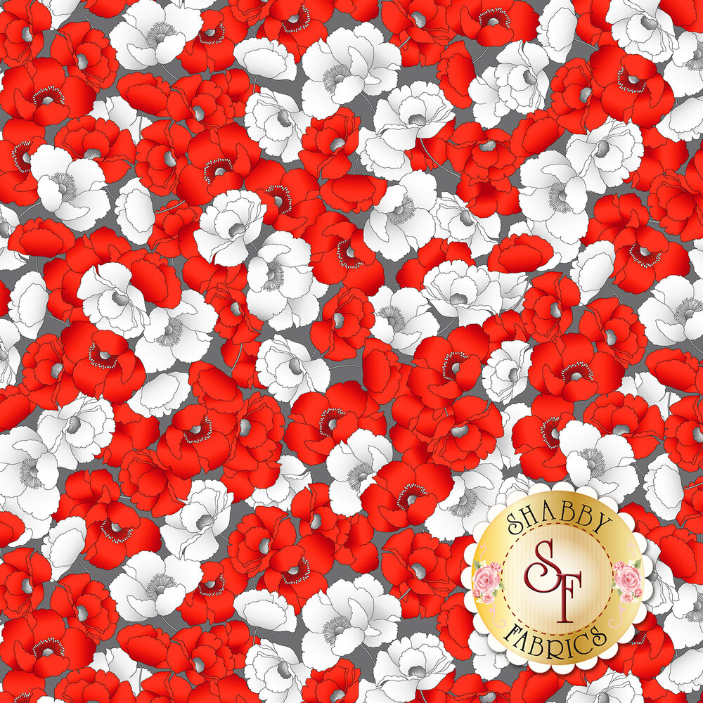 Red and white packed poppies on gray | Shabby Fabrics