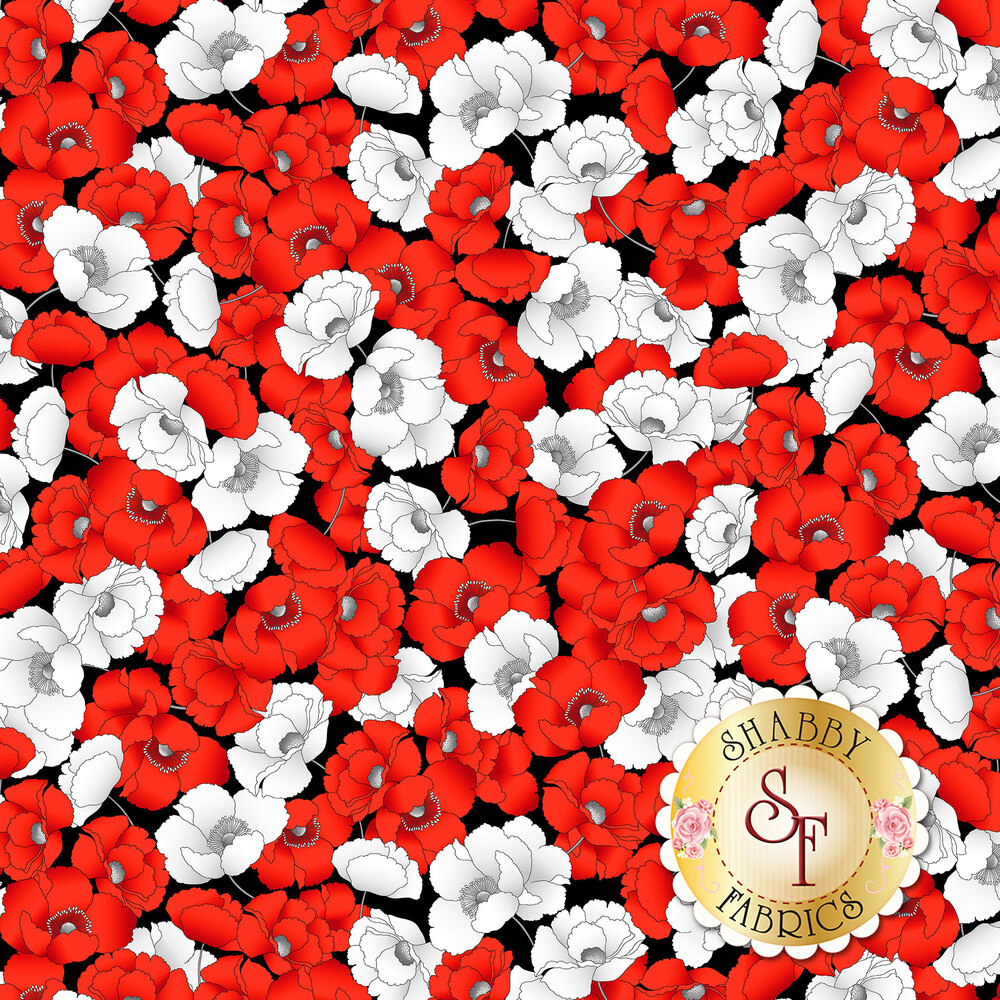 Red and white packed poppies on black | Shabby Fabrics