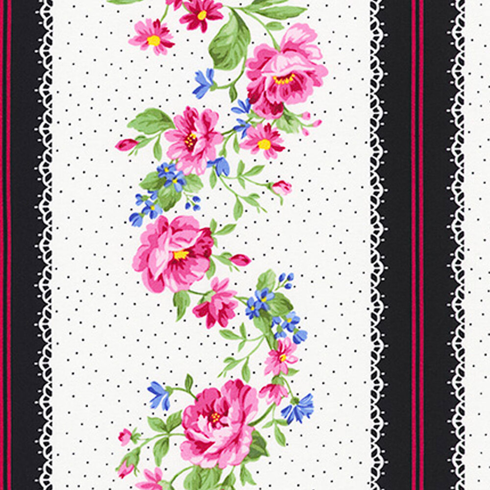 Colorful flowers and small white dots on a white striped fabric | Shabby Fabrics