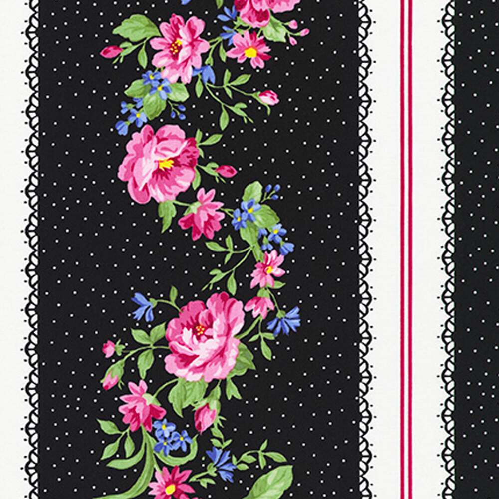 Colorful flowers and small white dots on a black striped fabric | Shabby Fabrics