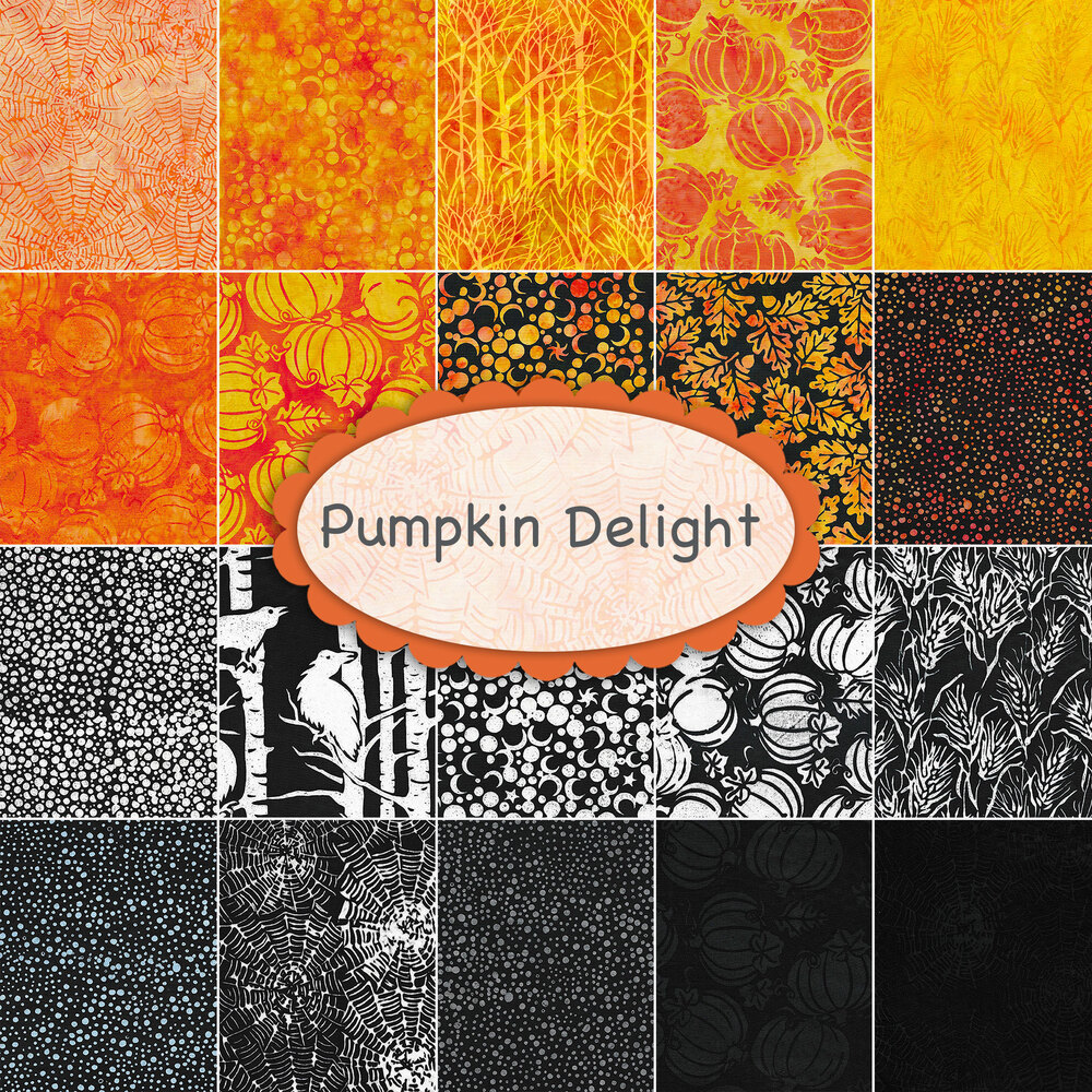 A collage of fabrics included in the Pumpkin Delight collection