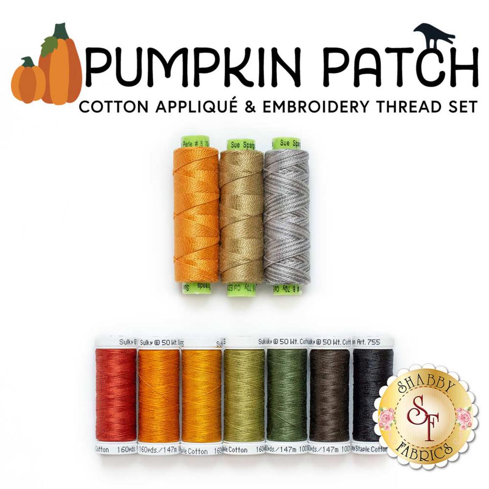 The 10 piece Cotton Applique thread set for the Pumpkin Patch Quilt Kit