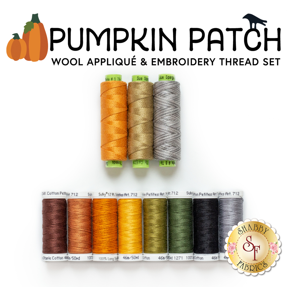 The 11 piece thread set for the Pumpkin Patch Wool Applique Quilt