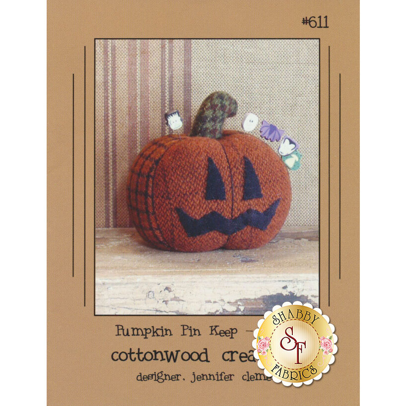 The front of the Pumpkin Pin Keep pattern showing the finished pumpkin | Shabby Fabrics