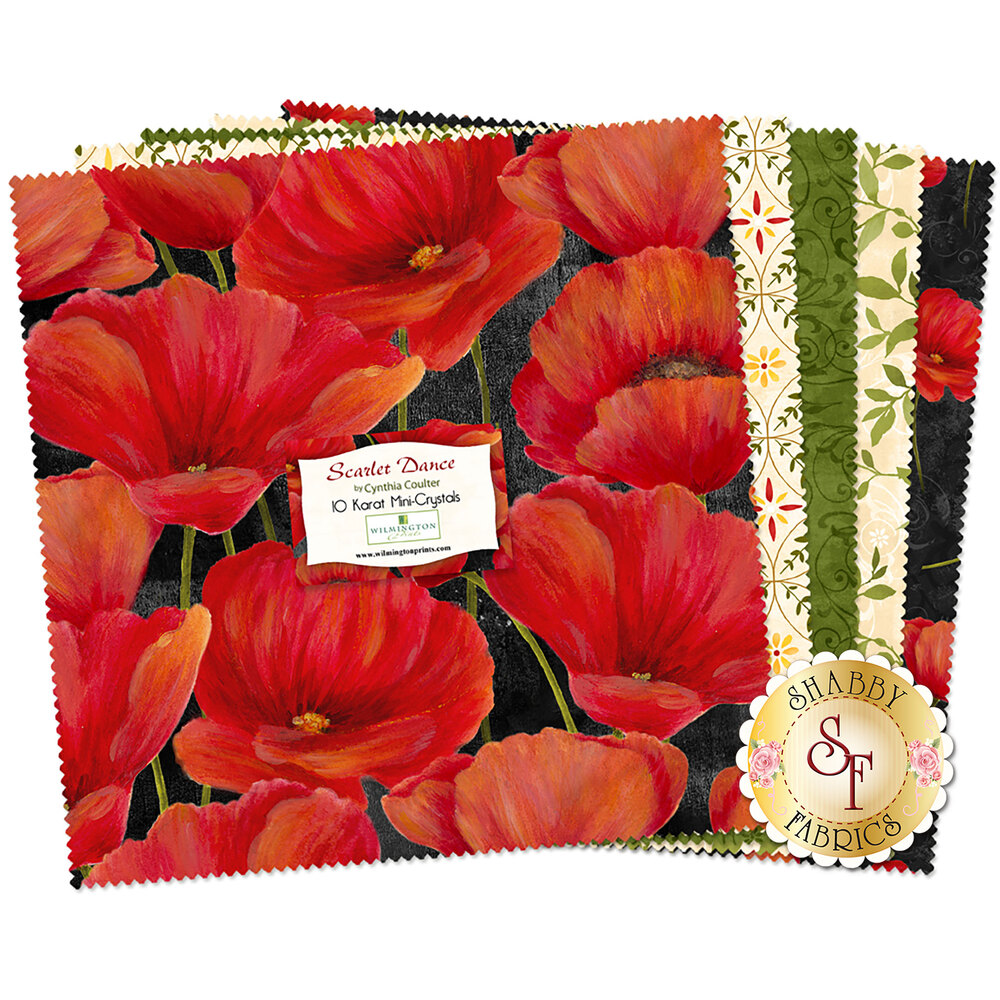 "Scarlet Dance 10"" Squares by Wilmington Prints"