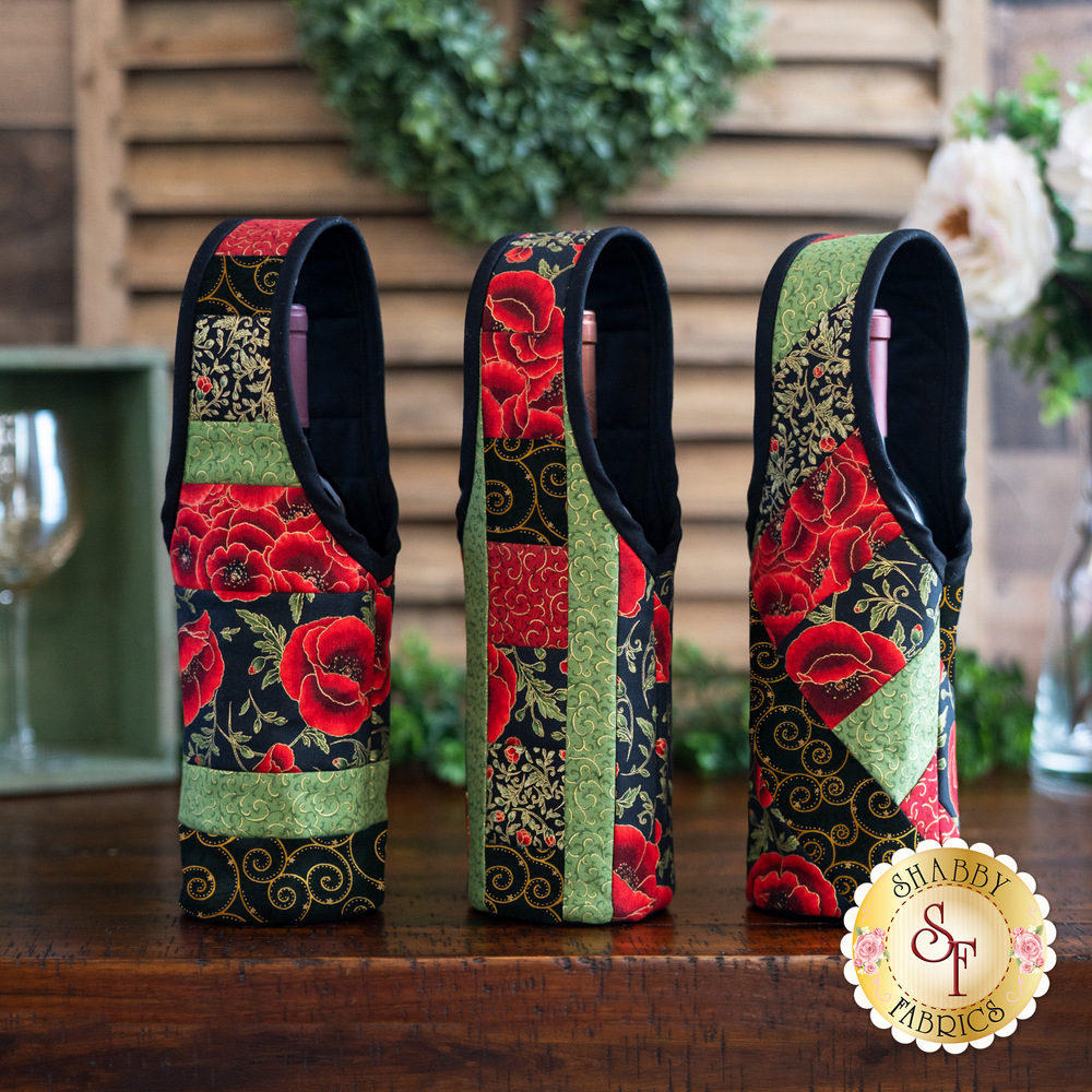Quilt As You Go Wine Totes - Gilded Blooms | Shabby Fabrics