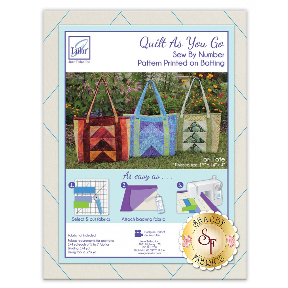 The front of the QAYG Tori Tote batting showing three totes using different fabrics | Shabby Fabrics