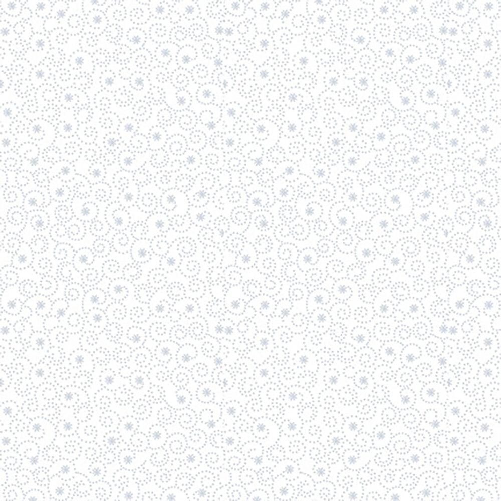 Dotted swirls all over white   Shabby Fabrics
