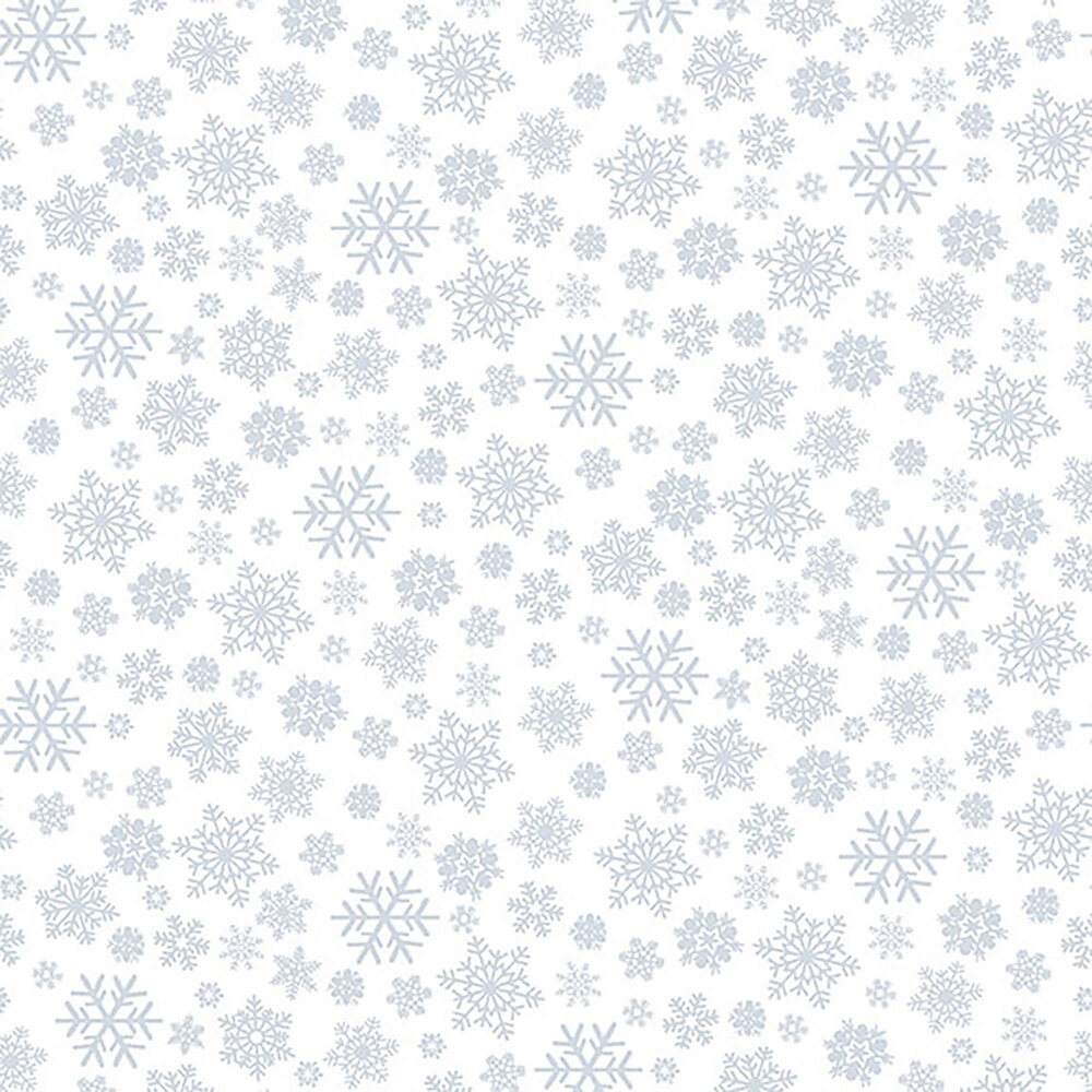 A white on white fabric with different sized snowflakes | Shabby Fabrics
