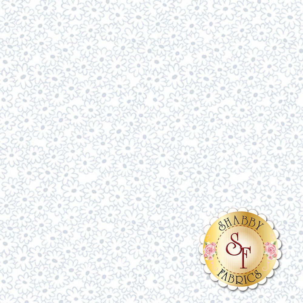A white on white fabric with daisies all over | Shabby Fabrics