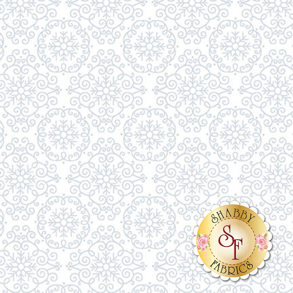 A white on white fabric with repeating medallion linework | Shabby Fabrics