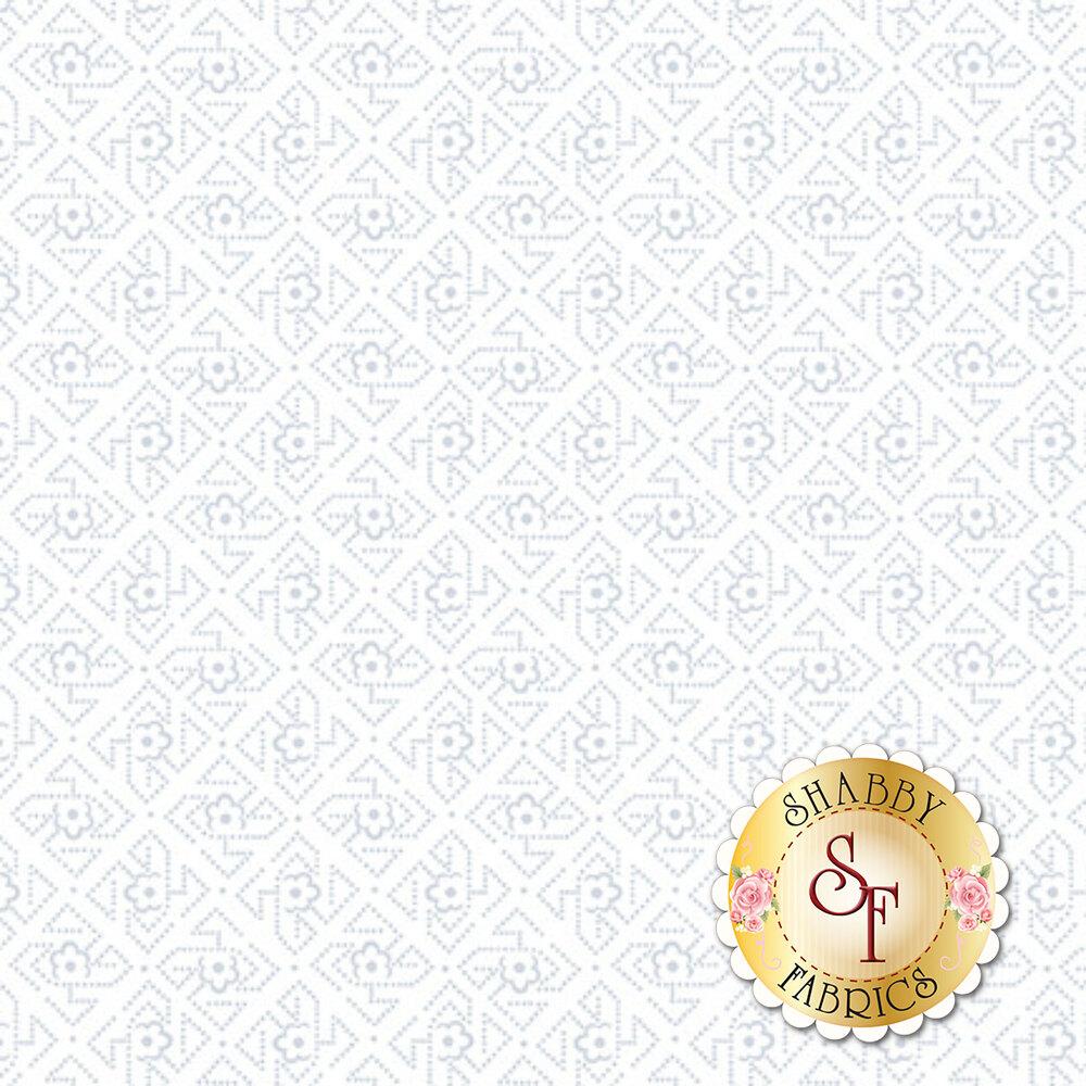 A white on white fabric with geometric dot design | Shabby Fabrics