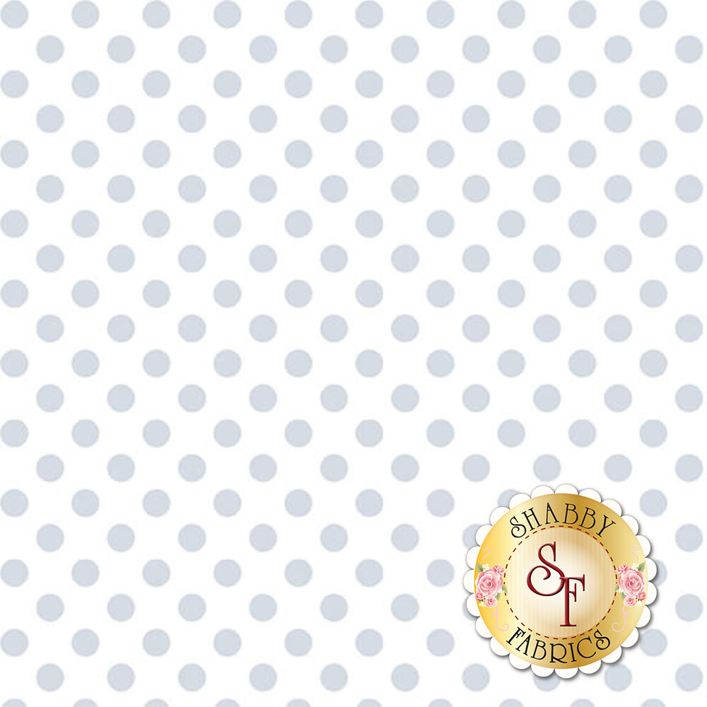A white on white fabric with large polka dots | Shabby Fabrics