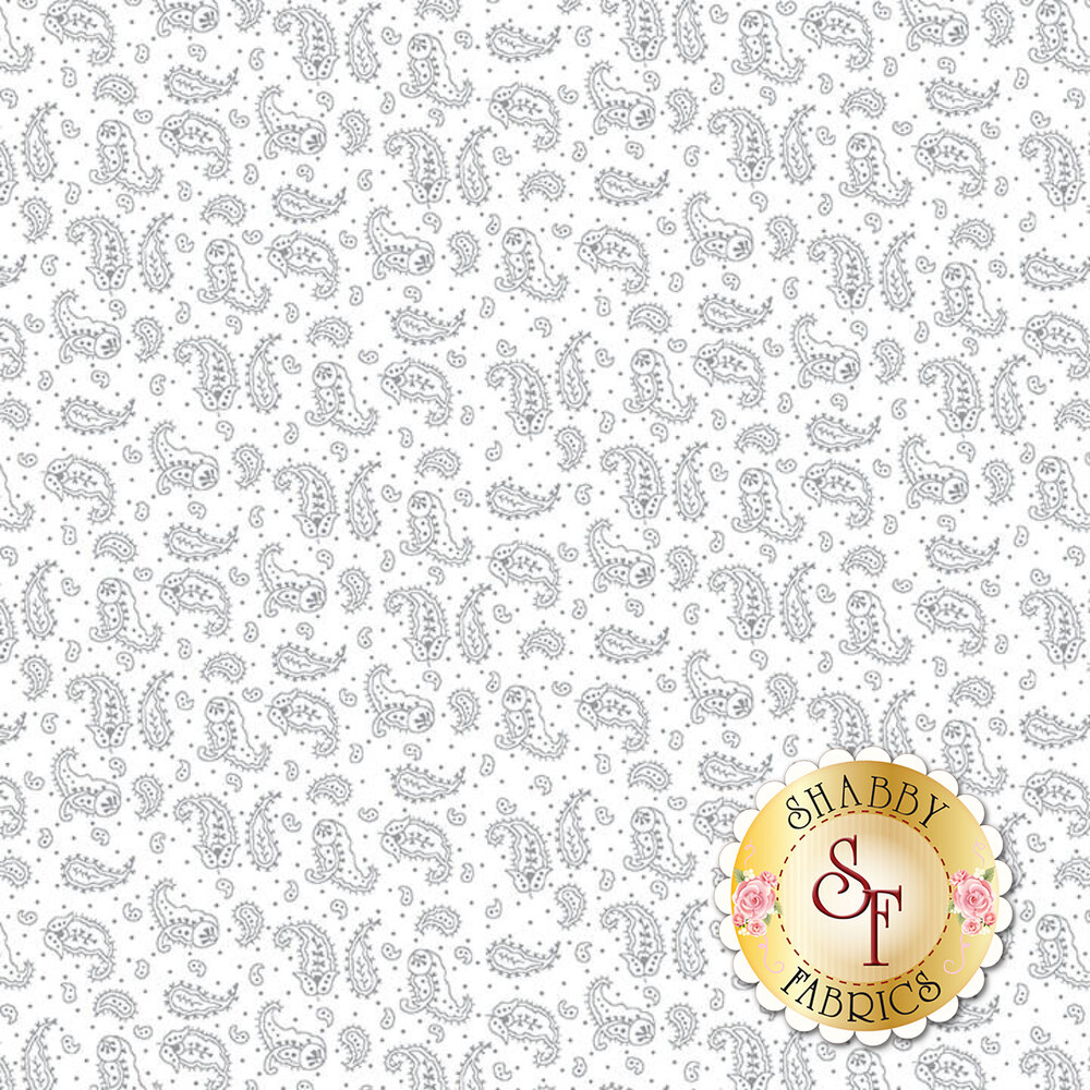 A white on white fabric with small darling paisleys | Shabby Fabrics