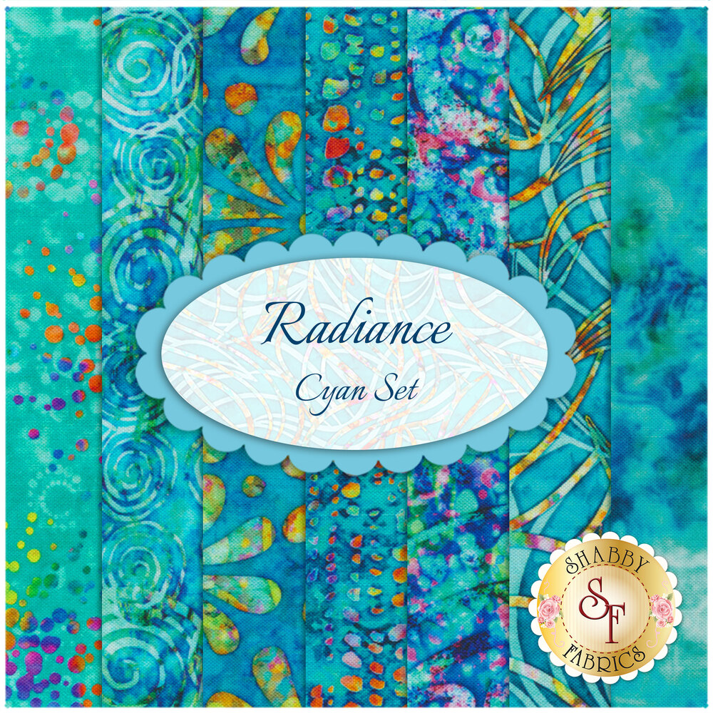 Radiance  7 FQ Set - Cyan by Quilting Treasures Fabrics available at Shabby Fabrics