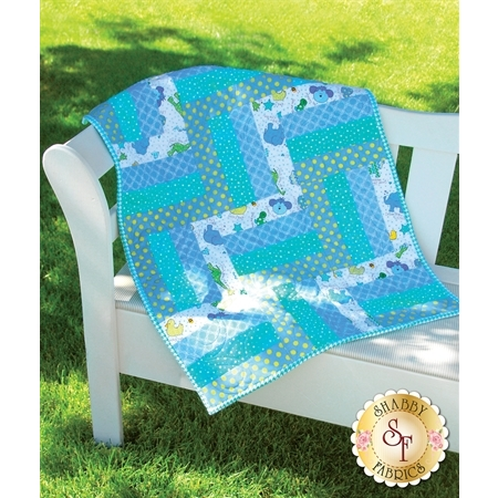 Rail Fence Pre-Cut Kit - Little One Flannel Too! Blue