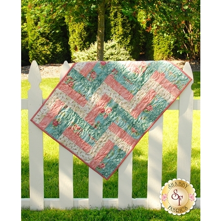 Rail Fence Quilt - Welcome Home Rose & Teal - SAMPLE QUILT