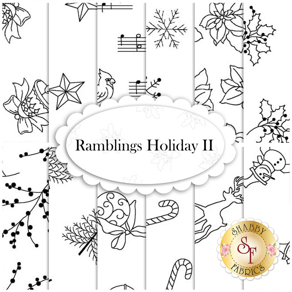Digital images showing the designs of the Ramblings Holiday II FQ Set | Shabby Fabrics