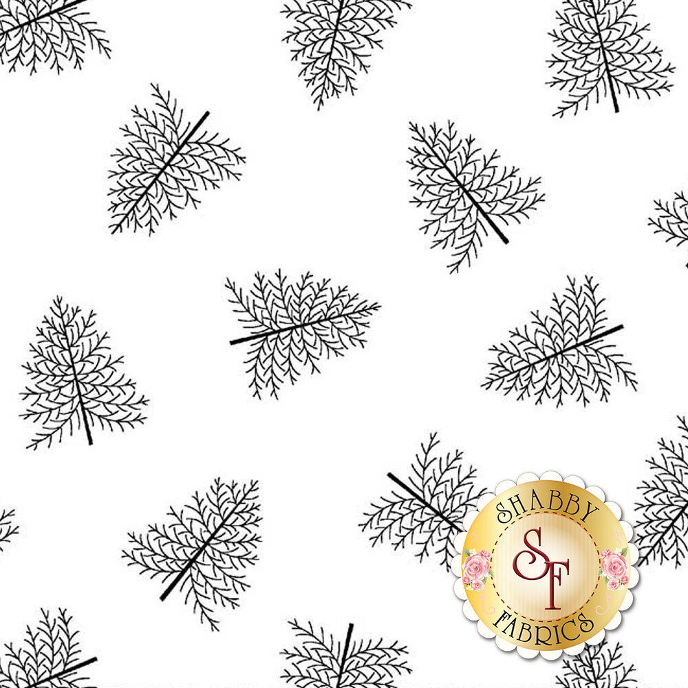 Tossed pine trees on a white background | Shabby Fabrics