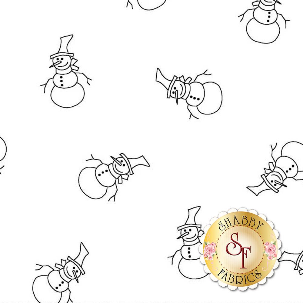 Tossed snowmen on a white background | Shabby Fabrics