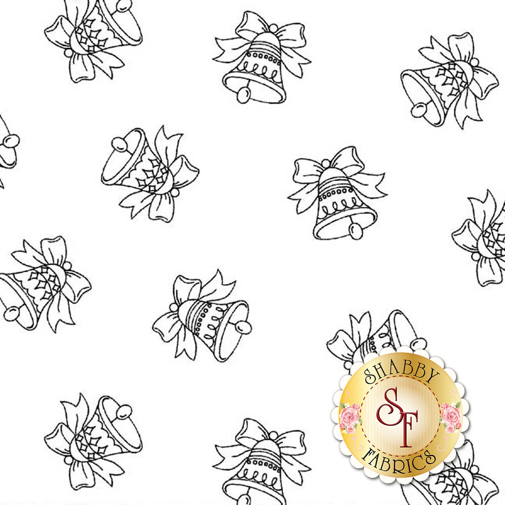 Tossed jingle bells on a white background   Shabby Fabrics