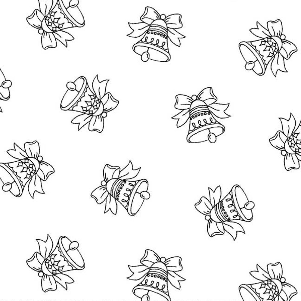 Tossed jingle bells on a white background | Shabby Fabrics