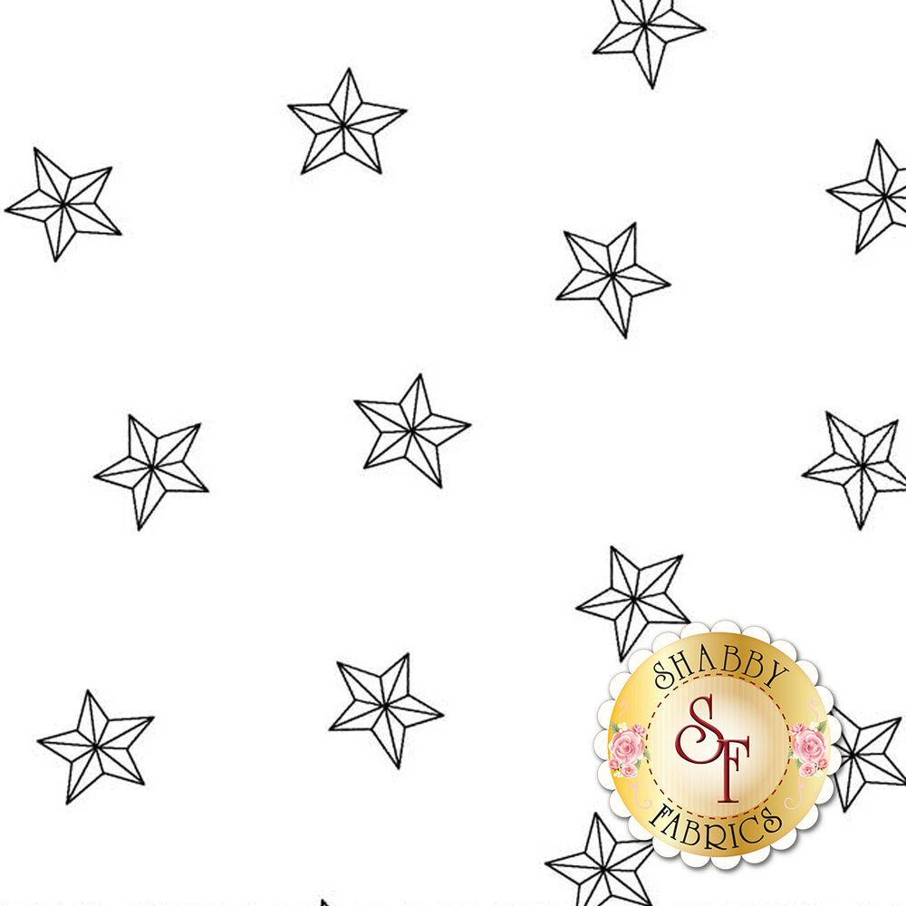 Tossed stars on a white background | Shabby Fabrics