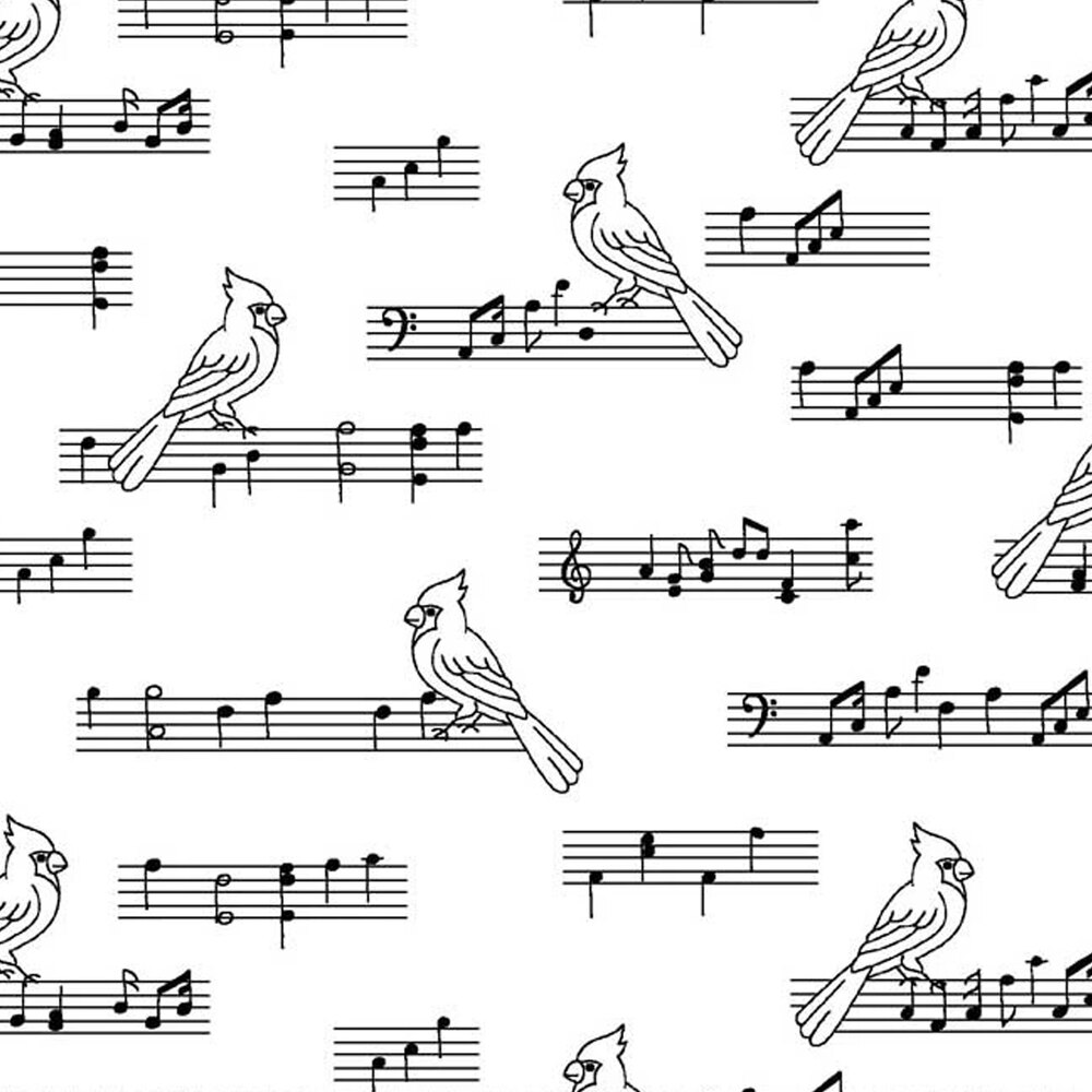Music notes and cardinals on a white background | Shabby Fabrics