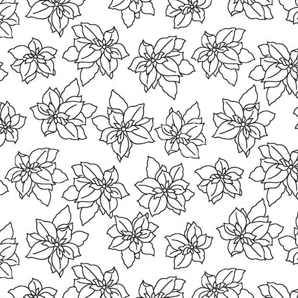 Tossed poinsettias on a white background   Shabby Fabrics