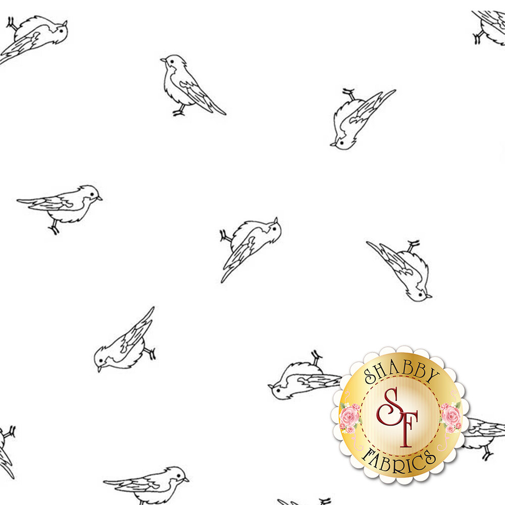 A black and white image showing the design of this tossed bird fabric | Shabby Fabrics